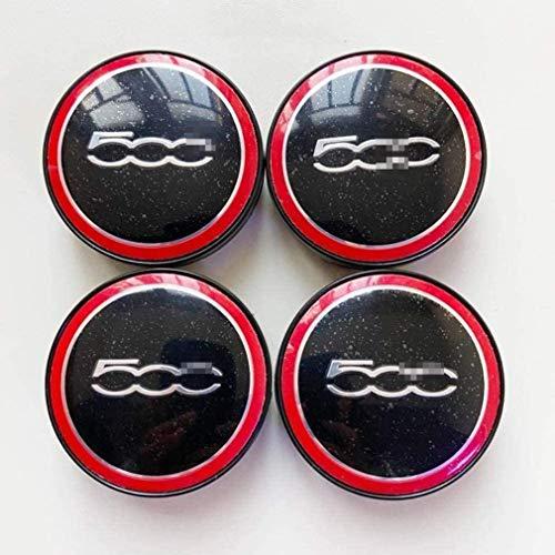 goodsmix 4 Piezas Tapas centrales para Llantas, para Fiat 500, 60mm Neumáticos Tapacubos Modelado Accesorios de Decoracion