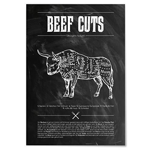 JUNIWORDS Poster mit/ohne Holzrahmen - Wähle ein Motiv - Beef Cuts (Schwarz) - Wähle eine Größe - 40 x 60 cm (L) ohne Rahmen