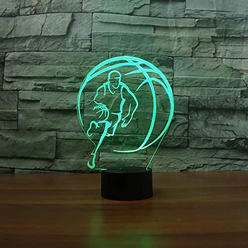 Luz nocturna 3D con forma de balón de baloncesto, LED, 3D, para niños, regalo de Holiday para niños