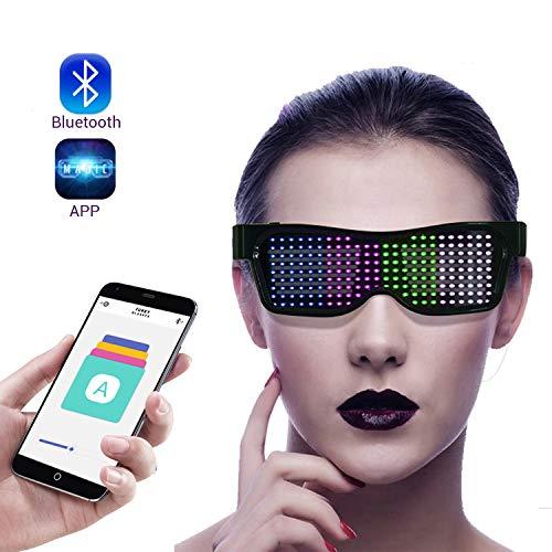Eamplest LED Brille Bluetooth APP Steuerung, 4 Modi 11 Animationen, DIY Neon Draht Brille mit App für iPhone iOS Android und Google Play ,für Raves Festival Clubs Motto Partys