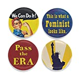 Buttonsmith Feminist Magnet Set - Set of 4 1.25' Magnets - Made in the USA
