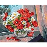YSNMM Pintura Al Óleo por Números Flores para Adultos Sin Marco DIY 60X75Cm Acrílico Número De Dibujo En Lienzo Decoración para El Hogar Arte De La Pared