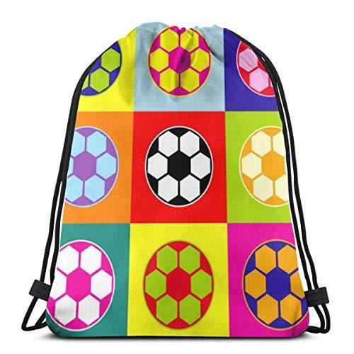 LREFON Mochila con cordón para gimnasio, mochila con balón de fútbol, mochila para almacenamiento deportivo, organizador de zapatos, bolsas de regalo para el hombro de la escuela, niños