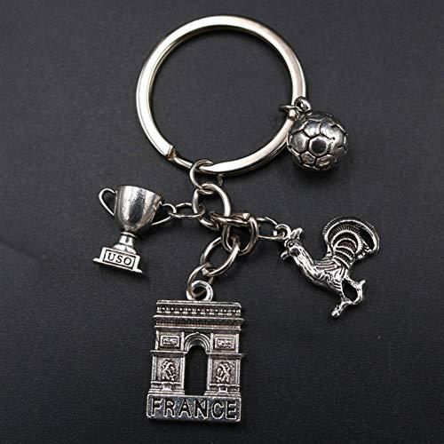 YCEOT 1Pc Arc De Triomphe & Gaul Haan & Voetbal & Trofee Sleutelhanger Diy Metalen Sleutelhanger