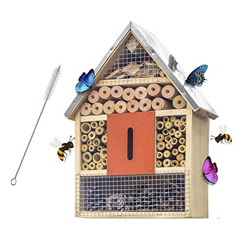 Wooden Insect Hotel With Brush for Butterflies, Bees, and Ladybugs