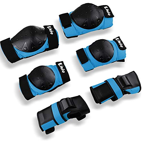 LIKIQ Kids/Youth/Adults Knee Pads Elbow Pads Wrist Guards Protective Gear Set for Skateboard Rollerblading Roller Skates Cycling BMX Bike Inline Skating Scooter Multi Sports (Blue, L(46-58kg))