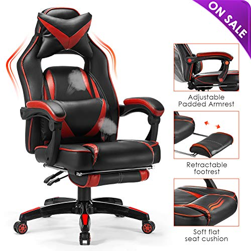 Kealive Gaming Chair Reclining Racing Chair, Ergonomic Office Chair with Breathable PU Leather and High Back, Adjustable Swivel Computer Chair with Headrest and Lumbar Support Footrest (Black+red) chairs Dining Features Game Kitchen Video