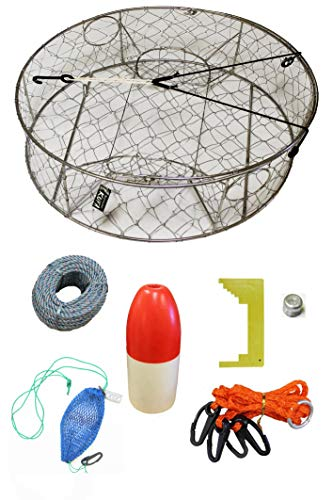 KUFA Stainless Steel Crab Trap with Zinc Anode & Accessory Kit (100' Lead Core Rope, Caliper,Harness,Bait Case & 11' Red/White Float) CT100+CAC14+ZIN1