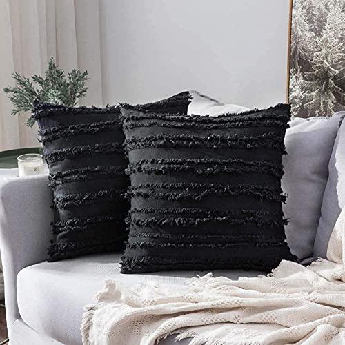 eewopjkj 2 Fundas de Cojines Decorativos de algodón y Lino con diseño de borlas para el hogar Funda para sofá Silla Coche Dormitorio Fundas de Almohada Decorativas Negro 20'x 20' (50x50cm)