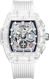 ساعة يد رجالي من ONOLA ساعة كوارتز شفافة بفتحة مجوفة وسوار من جل السيليكا متعددة الوظائف 3ATM عرض مضئ بتوقيت عرض التاريخ