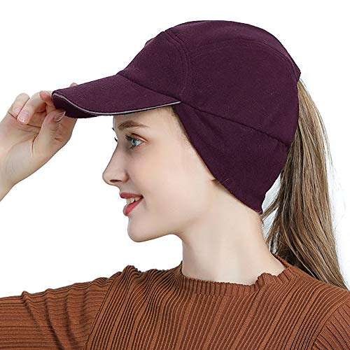Womens Winter Fleece Ponytail Cap with Drop Down Ear Warmer Messy Bun Baseball hat Purple