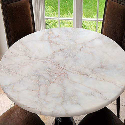 SUPNON Round Elastic Table Cover, Fitted Edged Polyester Stretched Round Table White Marble Texture Abstract Background Pattern Fit for 35'-39' Table NN-278