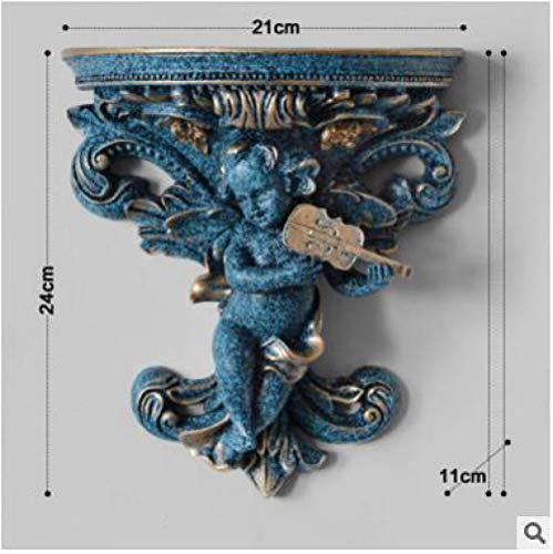 ULDQ Escultura Decorativa para El Hogar Ángel De Resina Colgante De Pared Decoración 3D Estéreo Salón Fondo Soporte Rack Decoración Artesanías Art-D_11 * 21 * 24Cm