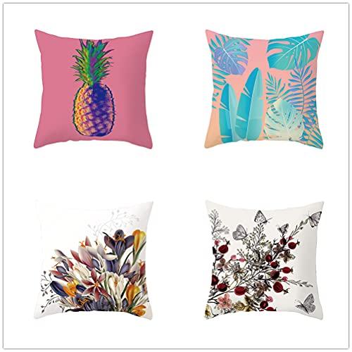 Niuqichongtian Funda de almohada con flores y plantas verdes de piña cojines coloridos con fundas incluidas 4 piezas TPR040-2