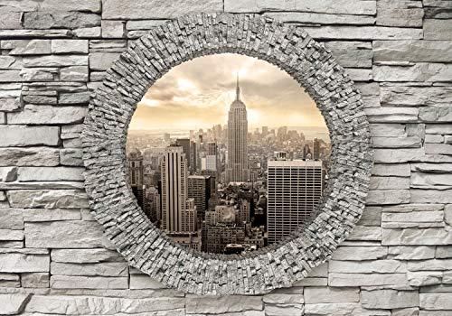 decomonkey Fototapete New York 350x256 cm XL Tapete Wandbild Wandbild Bild Fototapeten Tapeten Wandtapete Wandtapete Stadt City Fensterblick Stein