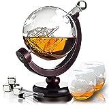 Whisiskey® Whisky Karaffe - Globus - Whiskey Karaffe Set - 800 ml - Geschenke für Männer - Inkl. 4 Whisky Steine, 2 Whisky Gläser & Ausgießer