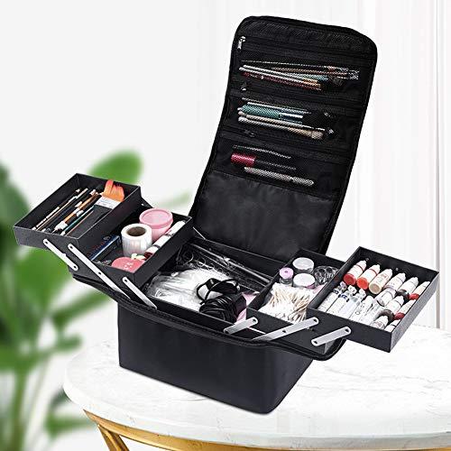 Mhwlai Mehrschichtige professionelle Kosmetiktasche,Reise-Make-up-Tasche Kosmetiktasche Make-up-Tasche Organizer für Frauen und Mädchen /10.23 * 11.02 * 7.87in,Schwarz
