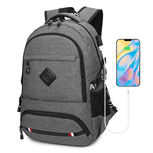 Flybiz Anti-Theft Travel Laptop Backpack, Professional 15.6 Inch Business Travel Work Computer Rucksack Bag with USB Charging Port, Water Resistant Large College/High School Bag for Men/Women (Grey)