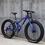Fat Bike Snow Bike 24 Pulgadas 27 Velocidades Bicicleta De Freno De Disco Doble Bicicleta De Suspensión Completa MTB Neumáticos Bicicletas De Carreras Al Aire Libre Bicicleta,Azul