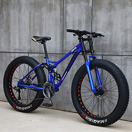 Adult Fat Tire Mountain Bike, Mountain Bike 24-Inch Wheels 7-Speed, Double Disc Brake Bicycle Suspension Fork Rear Sliding Bicycle Suitable for Adults Or Teenagers,blue