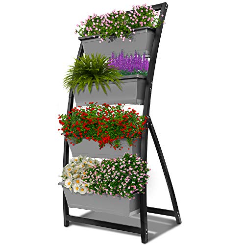 6-Ft Raised Garden Bed - Vertical Garden Freestanding Elevated Planter with 4 Container Boxes - Good for Patio or Balcony Indoor and Outdoor