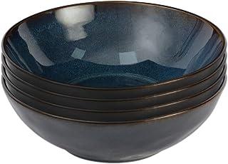 ProCook Vaasa - Vaisselle de Table en Grès - 4 Pièces - 18cm - Bol à Céréales/à Soupe - Glaçure Réactive - Bleu