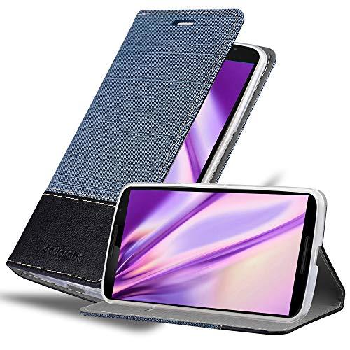 Cadorabo Custodia Libro per Lenovo Google Nexus 6 / 6X in Azzurro Scuro Nero - con Vani di Carte, Funzione Stand e Chiusura Magnetica - Portafoglio Cover Case Wallet Book Etui Protezione