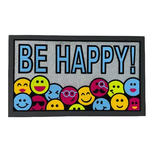 TIENDA EURASIA® Felpudos Entrada Casa Originales - Felpudo Fabricado en Goma Caucho Reciclado - Antideslizante y Facil de Lavar - Medida 40 x 68 cm (Be Happy) ✅