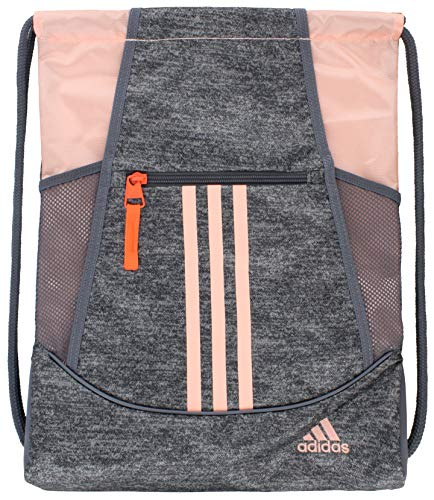 adidas Alliance II Sackpack (One Size, Jersey Onix/Glow Pink/Hi Res Coral/Onix)