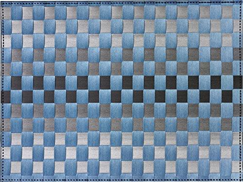 Saleen 1010177301 Gewebe-Tischset Inspiration, grau / blau mit Streifen