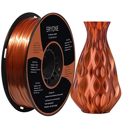 PLA Filamento 1.75mm Seda Cobre, ERYONE Seda Cobre Brillante Filamentos PLA 1.75mm, 3D Impresora Filamentos PLA for 3D Impresoras and 3D Pen, 1kg 1 Carrete