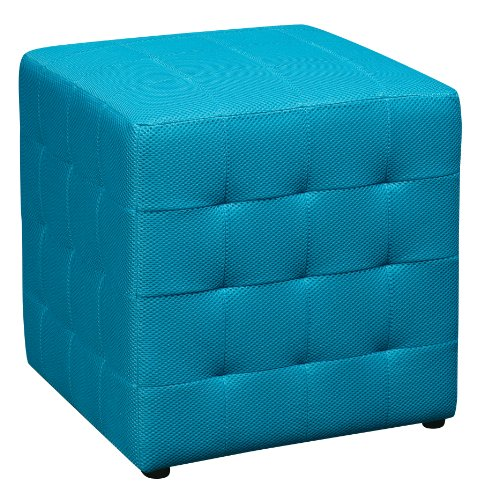 Office Star Detour 15-Inch Mesh Fabric Cube Ottoman, Blue