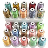 New brothread 25 Multicolore Polyester Fil Machine à Broder pour Brother/Babylock/Janome/Singer/Kenmore...