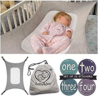 Baby Hammock for Crib - Mimics Mother's Womb - Infant Safety Hammock - Heavy Duty & Adjustable Straps - Ultra Soft Fabric with Reinforced Net, Newborn Infant Nursery Bed by Baby&Joy (Grey)