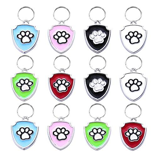 HACRAHO Etiquetas de identificación para mascotas, 12 etiquetas de identificación para perros grabadas, etiquetas de identificación para mascotas con llaveros de 12 piezas, forma de escudo