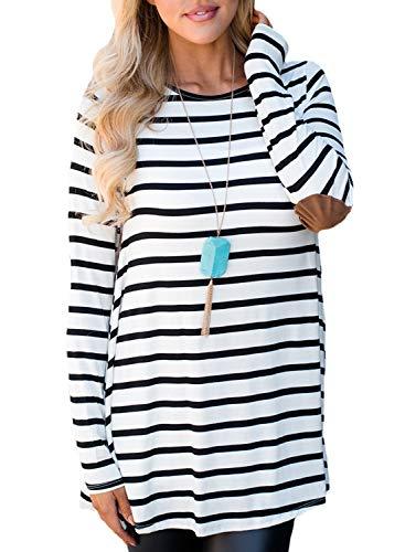 CORAFRITZ - Maglia da donna a righe con bottoni sul retro, a maniche lunghe, con orlo irregolare, vestibilità ampia, tunica bianco M