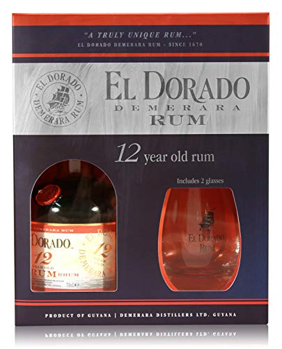 El Dorado 12 Jahre 0,7l mit 2 Gläser - Brauner Rum, Finest Demerara aus Guyana incl. Geschenkpackung