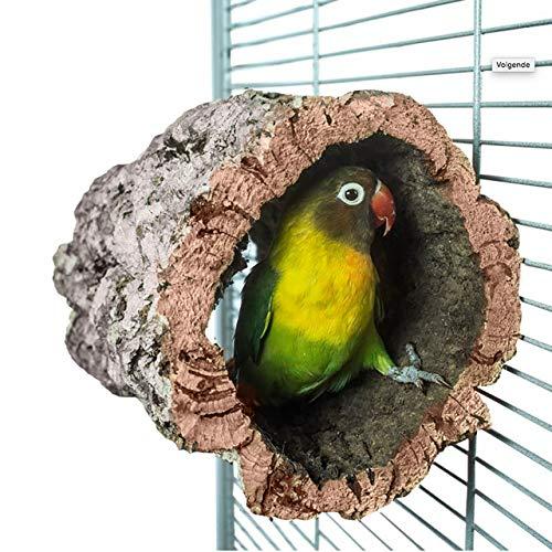 HappyBird ® | Korkhöhle Korktunnel für Wellensittiche mit Befestigung aus Edelstahl