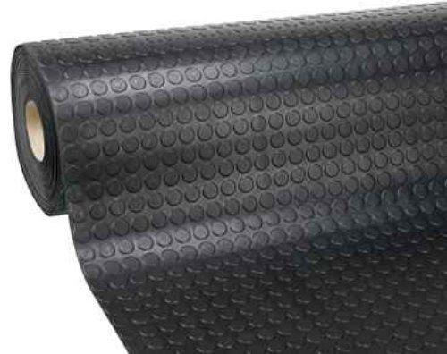 Passatoia Zerbino Tappeto Rivestimento Pavimenti in PVC Antiscivolo Flessibile e Resistente Disegno Bollato Larghezza 100 cm Lunghezza 10 m Colore Nero