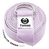 Tumaz Yoga Gurt/Yoga Strap [15+ Farben, 180/240/316 cm] Baumwolle mit Extra Sicherer, Einstellbarer D-Ring-Schnalle, Langlebiger und Bequemer, Zarter Textur – Perfekt für Dehnen und Fitness