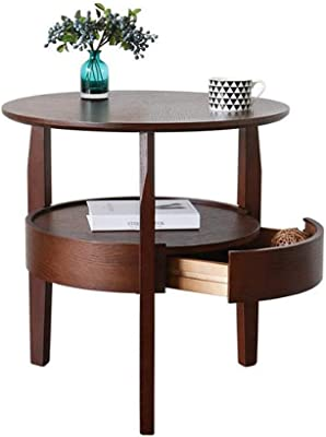 Coffee Table Side Table End Table Snack Table End Tables Tea Table Double-Layer Round Solid Wood with Drawer Sofa Table Coffee Table Living Room Side Table Coffee Table Side Table End Table