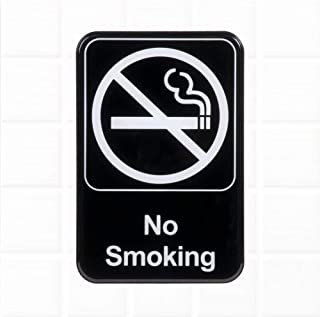 No Smoking Sign for Door/Wall - Black and White, 9 x 6-inches Commercial No Smoking Signs
