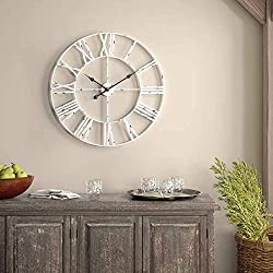 Wall Decor Clocks, European Vintage Clock with Large Roman Numerals, Indoor Silent Battery Operated Metal Clock for Home, Living Room, Kitchen & Den - 18 Inch, White