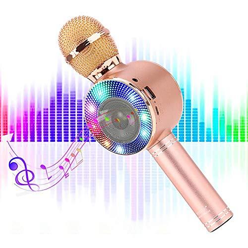 SaponinTree Microfono Karaoke Bluetooth, Wireless Bambini Portatile Karaoke Microfono con Altoparlante per Cantare, Compatibile con Android iOS o Smartphone