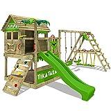 FATMOOSE Parque infantil de madera TikaTaka con columpio SurfSwing y tobogán manzana verde, Casa sobre pilares de exterior con arenero y escalera para niños