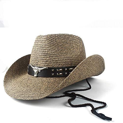 QHDAILY 12 Stijl Casual Vrouwen Mannen Rieten Holle Westerse Cowboy Hoed Zomer Lady Gentleman Beach Sombrero Hombre Panama Cowgirl Jazz Sun Cap Grootte 56-58CM Vrije tijd Hoed