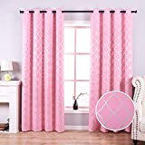 Anjee Pink Blackout Curtains for Girls Bedoom with Silver Moroccan Tile Pattern Room Darkening Noise Reducing Grommet Top Drapes 52 x 84 Inches, Pink