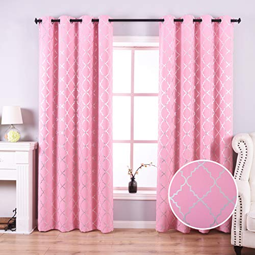 Anjee Pink Blackout Curtains for Girls Bedoom with Silver Moroccan Tile Pattern Room Darkening Noise Reducing Grommet Top Drapes 52 x 84 Inches, Peach Pink