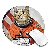 猫柄 かわいい マウスパッド丸型 ステッチされたエッジ 個性的 ゴム製裏面 ゲーミングマウスパッド Pc ノートパソコン オフィス用 円形 デスクマット 滑り止め 耐久性が良い おもしろいパターン