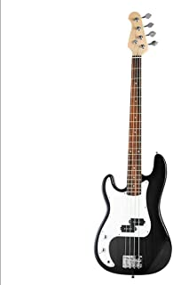 $172 Get Black Full Size 4 String Electric Bass Guitar with Strap Guitar Bag Amp Cord